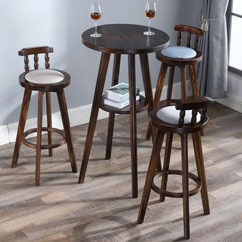 American bar table and chair combination retro high stool table combination coffee shop solid wood table leisure bar stool