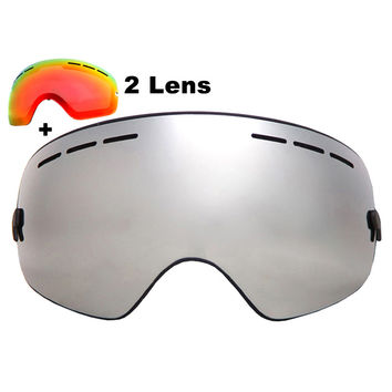 Brand Ski Goggles Double Layers UV400 Anti-fog Big Ski Mask Glasses Skiing Snowboard Goggles With Red Lens