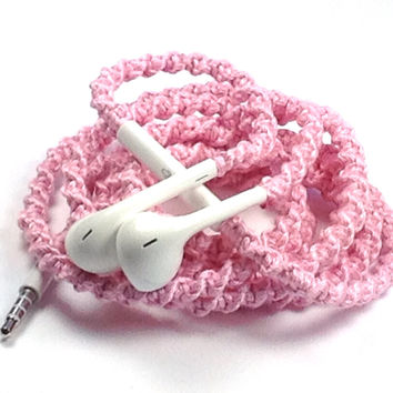Baby Pink MyBuds Tangle Free Earbuds - Wrapped Headphones - Your Choice of Headphones