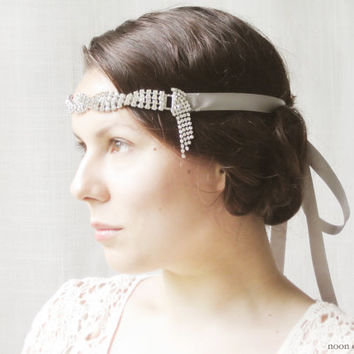 1920s Inspired Headpiece, Flapper Headband, Gatsby Style Hair Accessories, Art Deco, Vintage Rhinestones, Silver, Sparkling, Bridal
