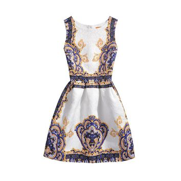 Girls Dresses,2016 Baby Girls Summer Bodycon Festa Sleeveless Casuals Dresses,Kids Vintage Clothes For 6-20Yrs Teen Girls