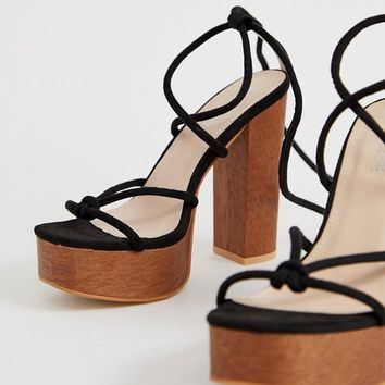 Public Desire Strut black tie up platform sandals | ASOS