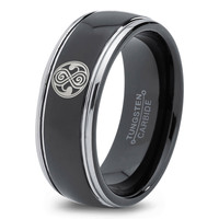 Dr Who Ring Doctor Time Lord Design Gallifrey Symbol Ring Mens Fanatic Geek Sci Fi Jewelry Boys Girl Womens Ring Fathers Day Gift Holiday Tungsten Carbide 211
