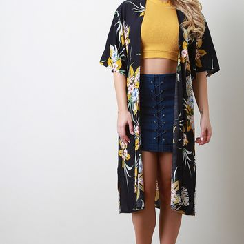 Tropical Longline Short Sleeves Cardigan