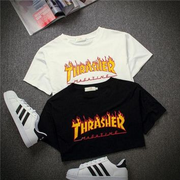 LMFHQ9 THRASHER'  Magazine Flame Personality T-Shirt Print Short Sleeve Top