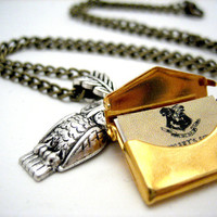 Owl Post Necklace with Hogwarts Acceptance Letter - Harry Potter