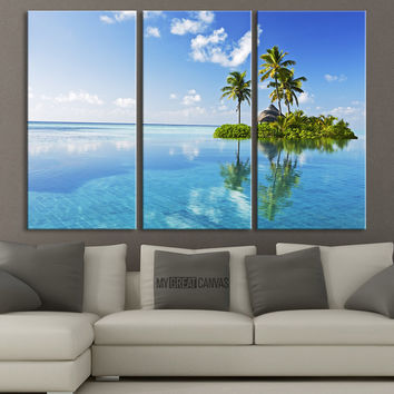 Paradise Tropical Island Canvas Print - 3 Piece Large Canvas Art - MC149