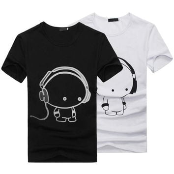 HOT 2016 New Summer Women Ladies Casual Cute Cartoon Print Funny T Shirt Soft Cotton Couple Clothes Best Friends Tshirt Cheap Z1