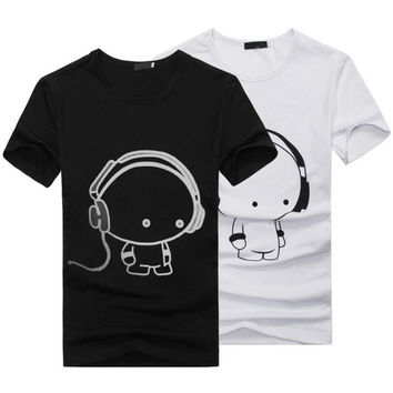 44f709e74 New Summer Women Ladies Casual Cute Cartoon Print Funny T Shirt Soft Cotton  Couple Clothes Best
