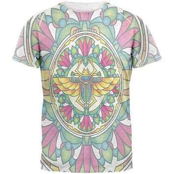 Mandala Trippy Stained Glass Scarab Mens T Shirt
