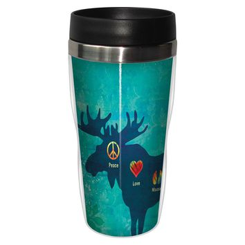 Peace Love Moose Artful Travel Mug - Premium 16 oz Stainless Lined w/ No Spill Lid