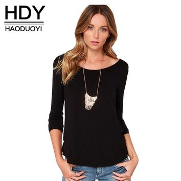 Fashion T-shirt Spring Casual Black/White Long Sleeve Open Back Female Tops Twisted Ruched Shirt