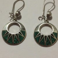 Taxco Turquoise Onyx Earrings Sterling Silver Mexico Mexican 925 Inlay Green Black Vintage Southwestern Tribal Jewelry Gift