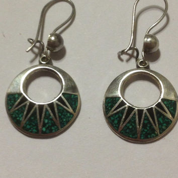 Taxco Turquoise Onyx Earrings Sterling Silver Mexico Mexican 925 Inlay Green Black Vintage Southwestern Tribal Jewelry