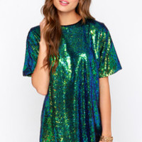 Siren A Flash Blue and Green Sequin Shift Dress