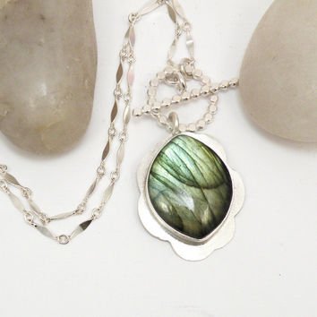 Labradorite Sterling Silver Necklace Toggle Clasp Front Closure Green Flash One of a Kind  Reversible Jewelry - Borealis Necklace