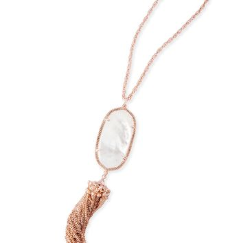 Kendra Scott Rayne Ivory Mother of Pearl Rose Gold Necklace with Tassel