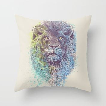 Lion King Throw Pillow by Rachel Caldwell