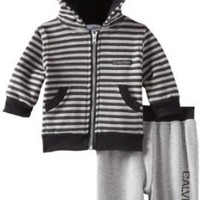 Calvin Klein Baby-Boys Newborn Stripe Hoody Sweater With Jog Pants