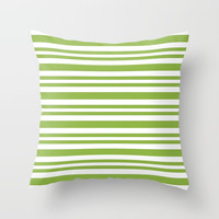 Pale Green Striped Pattern Throw Pillow by kasseggs