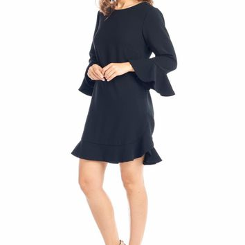 Love Shift Long Sleeve Black Short Dress