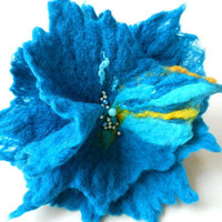 Turquoise Felted Brooch felt nuno nunofelt cotton flower folk boho sea green wearable art fairy