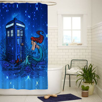 Doctor Who Meets Disney Tardis Ariel Best Quality Shower Curtain 60x72 Inch