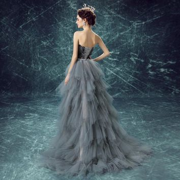 Prom Dresses Sexy High Low Prom Dress Prom Dresses Grey Tulle With Feathers Prom Dress
