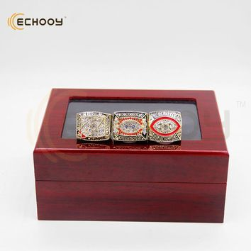 3 pcs 1982 1987 1991 redskin super bowl championship ring set with box that a best Anniversary gift for fans and friend