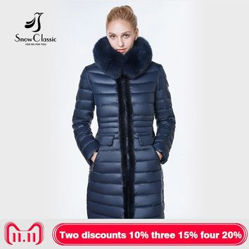 jacket women camperas mujer abrigo invierno coat women park Mink predecessor fox fur hat European design, slim, long, warm,
