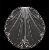 Elbow Length Wedding Veil with Beaded Silver Embroidery V704SE
