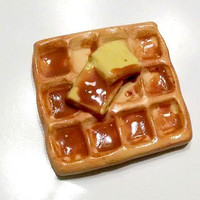 Waffle Magnet, Polymer Clay Magnet, Food Decor