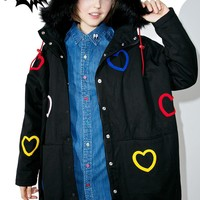 Winter cute kawaii lazy oaf heart collection jacket fur collar multicolored dimensional love manteau femme loose long coat women