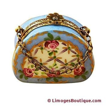 LIGHT BLUE PURSE WITH FLOWERS LIMOGES BOXES