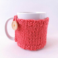 Knit Coffee Cozy with Button – Coffee Warmer – Coffee Mug Cozy – Coffee Cup Cozy – Mug Sweater – Cup Warmer – Cozy Mug – Coffee Gifts
