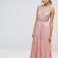 Three Floor Lace Detail Midi Dress with Plated Skirt and Thigh Split at asos.com