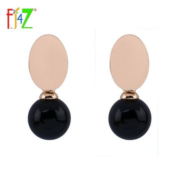 F.J4Z New arrival Fashion Earring Gold color Oval Alloy Black Resin Ball Clip Earrings for woman collier Bijoux