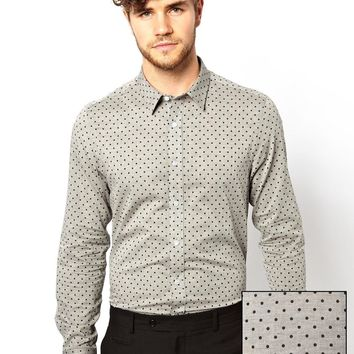 ASOS Smart Chambray Shirt With Polka Dots