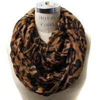 Amazon.com: Scarfand's Leopard Infinity Scarf (Brown): Clothing
