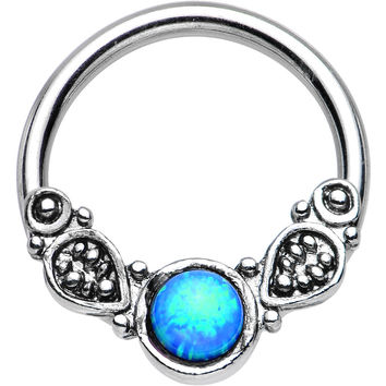 "14 Gauge 1/2"" Synthetic Blue Opal Tribal Fantasy Captive Ring"