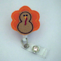 Cute Turkey-Badge Holder - Nurses Badge Holder - Cute Badge Reels - Unique ID Badge Holder - Felt Badge - RN Badge Reel