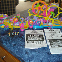 Polly Pocket Polly World Amusement Park, Carousel & Butterfly Ride w/instruction