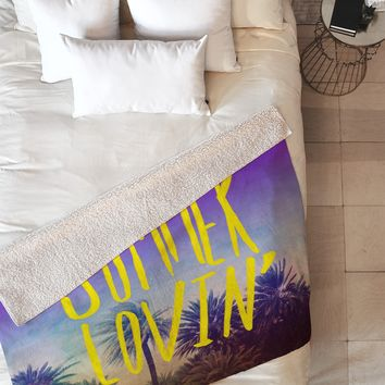 Leah Flores Summer Lovin Fleece Throw Blanket