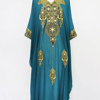 Green Tosca Kaftan Christmas Dress Caftan Kaftan Dubai Gold Embroidery Sheer Dress, Wedding Spring Party Batwing Style Caftan Maxi Dress