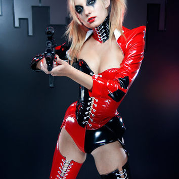 Artifice Products - PVC Harley Quinn angled overbust corset