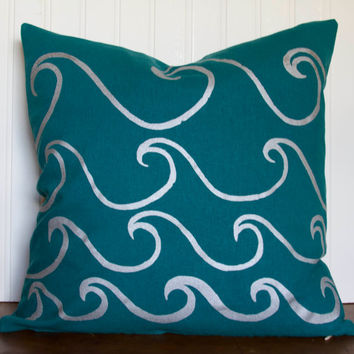 "Peacock Blue Pillow Cover- 16""x16"" Grecian Blue Decorative Throw Pillow Cover with Screen Printed Wave Design, Silver Waves"