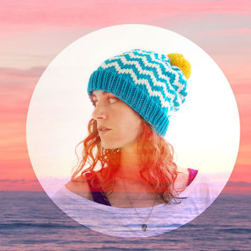 Slouchy Beanie Chevron Knit Hat Pom Pom  Teal by SourpussKnits