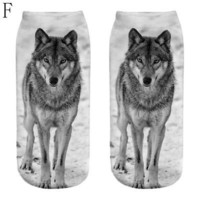 Popular Funny Girls Casual Socks 3D Wolf Printed Anklet Socks Short Socks UP.US