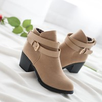 Hot Deal On Sale Matte With Heel Korean Boots [11144726983]