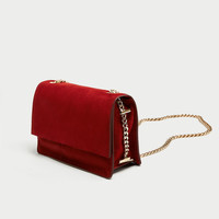 SUEDE CROSSBODY BAG WITH GOLD CHAIN DETAILS